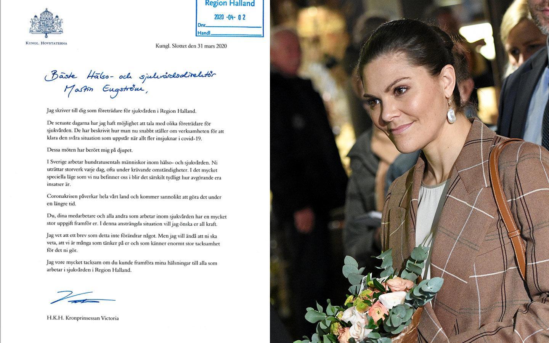 Kronprinsessans känslosamma brev till sjukvårdspersonalen i Halland