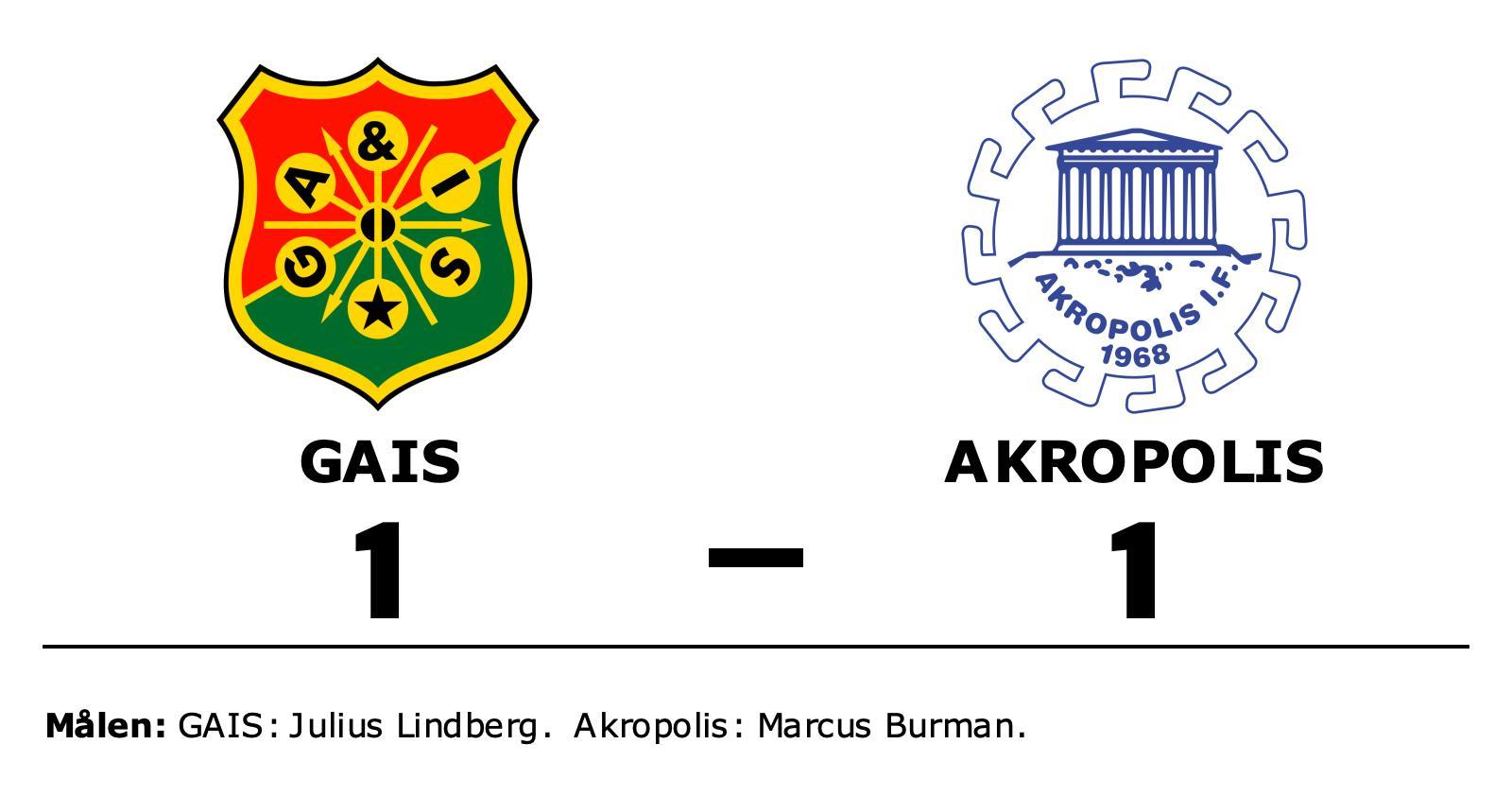Marcus Burman räddade poäng när Akropolis kryssade mot GAIS