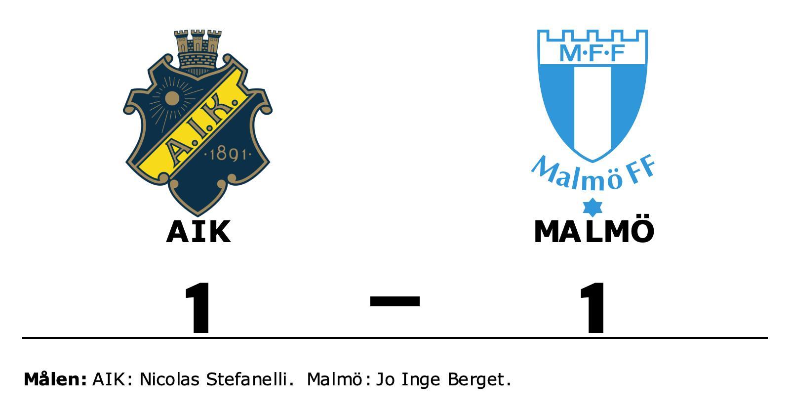 Nicolas Stefanelli räddade poäng när AIK kryssade mot Malmö