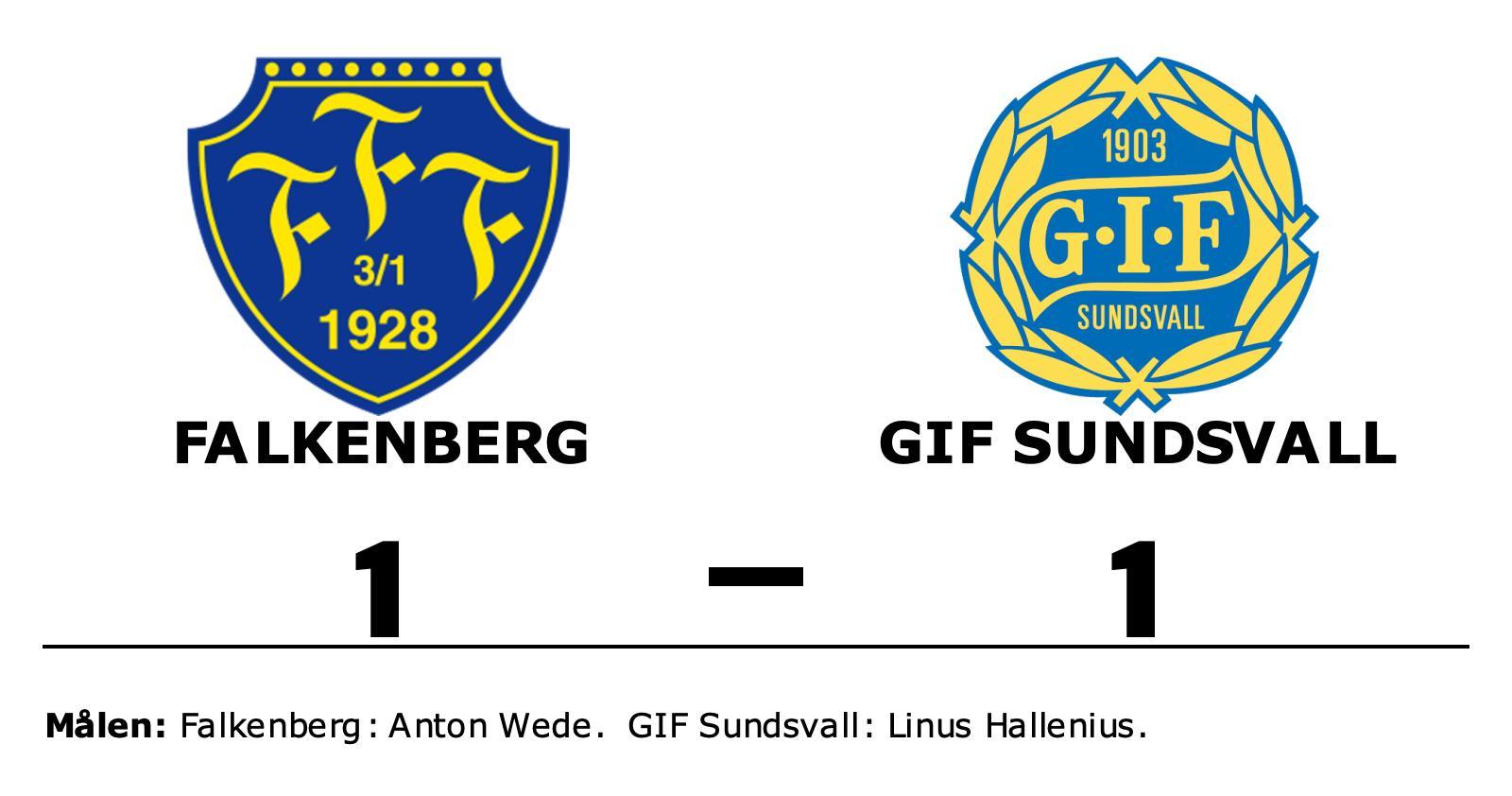 Falkenberg och GIF Sundsvall delade på poängen efter 1-1