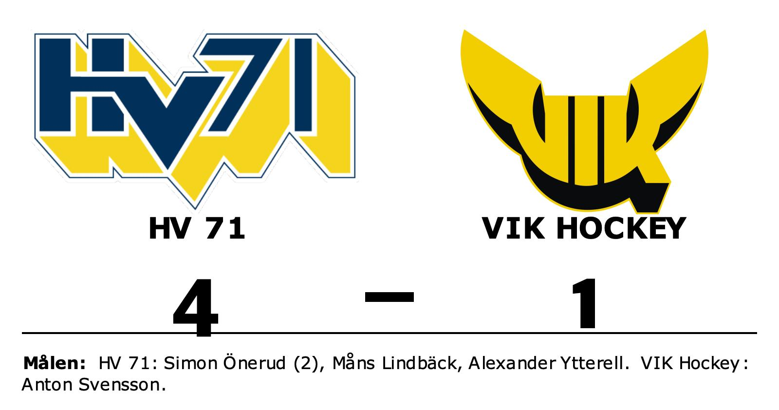 HV 71 slog VIK Hockey efter Simon Öneruds dubbel